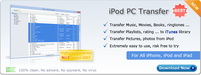 iPod PC Transfer. Copy music from iPod to PC, Copy videos from iPod to computer, Transfer playlists to iTunes, Super easy to use